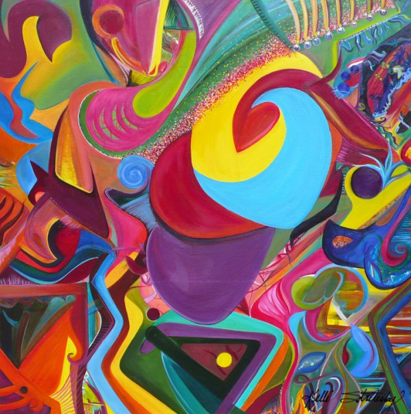 "Acrobat, 2007 Oil on canvas 48"" x 48"" x 3/4"""