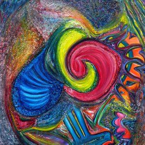 """Synchronicity, 2013 Oil on canvas 36"""" x 36"""" x 3/4"""""""