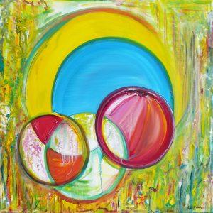 "Circles, 2014 Oil on canvas 36"" x 36"" x .75"""
